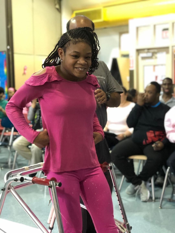 Student using a walker