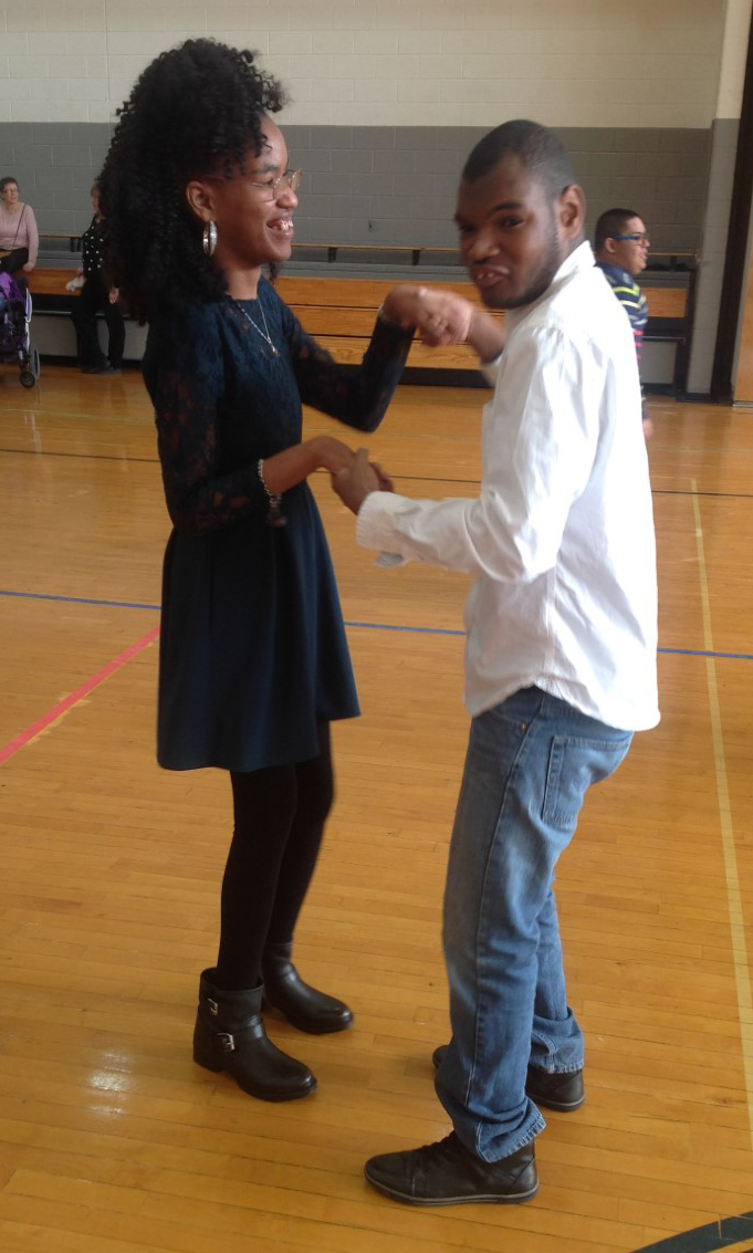 Naimah and Byron dancing at the Winter Dance.