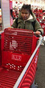 Pushing a cart at Target