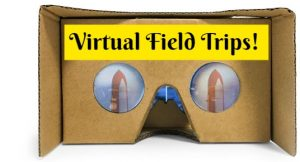 Google Virtual reality cardboard glasses with the word virtual field trips.