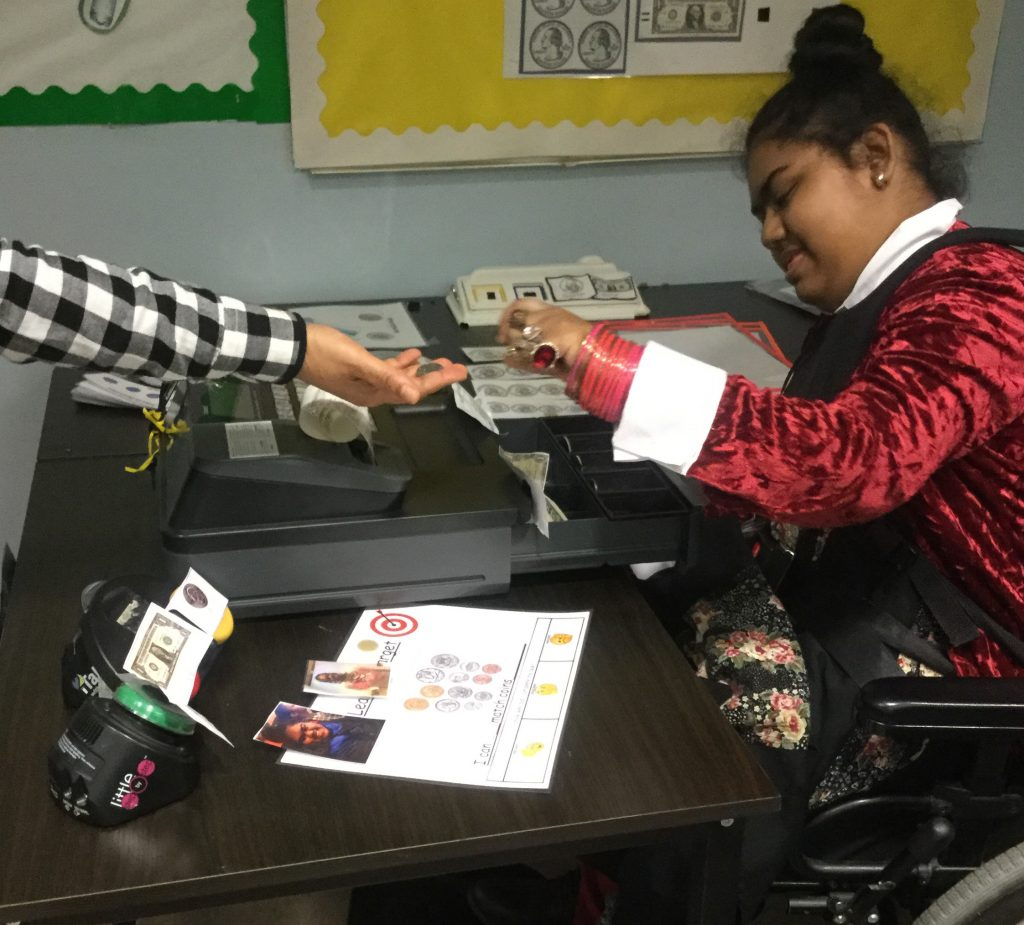 Student Working as a cashier for school store