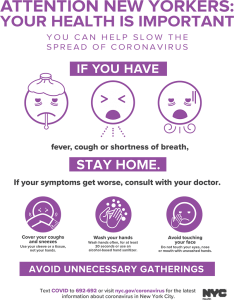 Attention New Yorkers Poster. Stay home if you have a fever, cough or shortness of breath. If your symptoms get worse contact your doctor.
