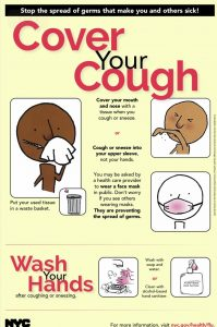 Poster showing how to cover your cough by placing a tissue over your mouth or using a mask.