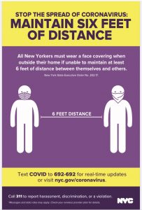 Poster showing two people maintaining six feet of distance.