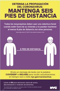 Poster in Spanish showing two people maintaining six feet of distance.